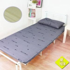 【KOTAS】碧翠絲冬夏竹面防潑水床墊-單~送記憶枕x1(紫灰 )