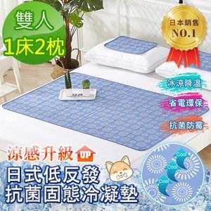 【Betrise】兩款選-日本熱銷固態抗菌凝膠冰涼墊-雙人1床2枕水藍款