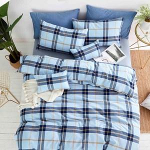 TRONlife好床生活 水洗純棉四件式兩用被床包組 晴空藍雙人