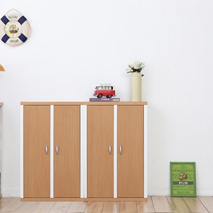 兩入一組【Accessco】日系雙色六格二門厚板收納書櫃(原木白)原木白