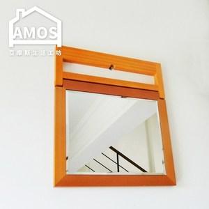 【Amos】古典佳人桌上木框立鏡原木色