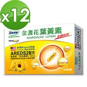 【愛之味生技】金盞花葉黃素膠囊60粒*12盒組-AREDS2黃金配方
