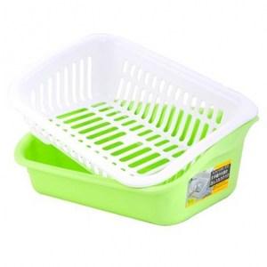 Richell 抗菌碗盤收納籃L 綠