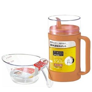 日本ASVEL油控式350ml調味油玻璃壺(橘色)+300ml量杯(特惠組)