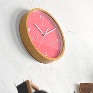 Dodeka|馬卡龍 溫濕度計 靜音 時鐘 掛鐘(粉)