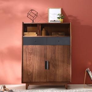 林氏木業時尚簡約雙門雙抽玄關儲物鞋櫃(具防倒功能)DQ1N-胡桃色