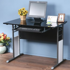 Homelike 巧思辦公桌-亮面烤漆100cm(附鍵盤)桌面:白/桌腳:灰//飾板:灰