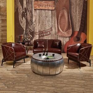 【YFS】路易士工業風咖啡色1+1+2人座沙發組130x68x80cm