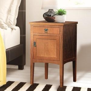 E-home Diem迪姆實木單抽單門床頭櫃-原木