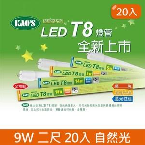 HONEY COMB LED T8 二尺9w玻璃燈管 20入 三色溫自然光 4000K T