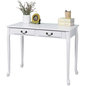 【Homelike】典雅歐風二抽書桌-純白色