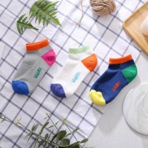 WARX除臭襪 抗菌機能撞色船型童襪8入組 S號18-21cm灰x4+藍x4
