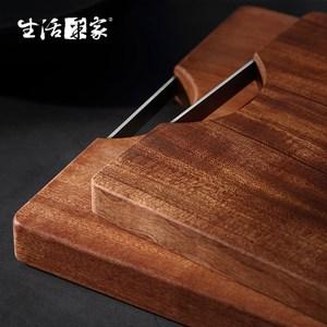 【生活采家】家用大小款烏檀木整木加厚長方形砧板#99442