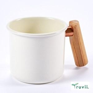 Truvii 木柄琺瑯馬克杯250ml(月光白)