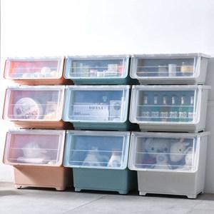 【收納+】6入-斜口上掀蓋式可堆疊附輪加厚收納箱整理箱(小款30公升)3藍+3灰