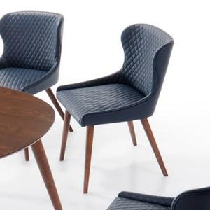 【YFS】瓦勒莉胡桃深藍皮餐椅-51x53x82cm