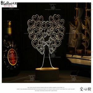 北歐3D立體 USB LED創意小夜燈-愛心樹