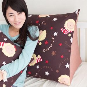 【奶油獅】正版授權-台灣製造-搖滾星星三角靠墊-咖啡(一入)