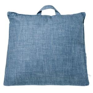 素色麻棉三角大靠墊 藍色