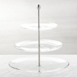 Crate&Barrel 3-tier 3層玻璃蛋糕盤