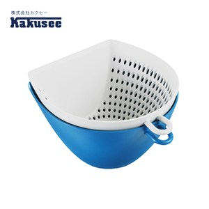 【日本Kakusee料理道具】多功能配料雙層瀝水籃(附量杯)藍色