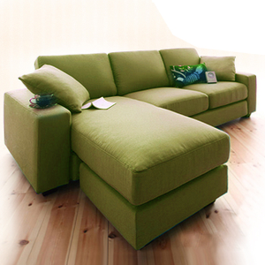 H&D 桑妮亮彩舒適L型沙發-綠麻布