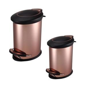 (組)紐約緩降防指紋垃圾桶5L+12L-金