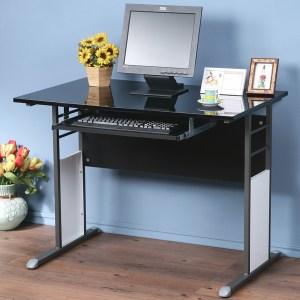 Homelike 巧思辦公桌-亮面烤漆100cm(附鍵盤)桌面:白/桌腳:白/飾板:紅