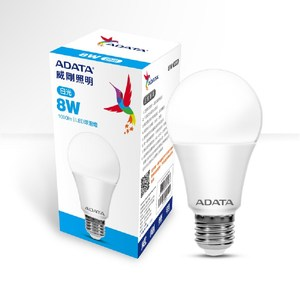 ADATA 威剛照明 8W大角度LED球泡燈-白光(8入)