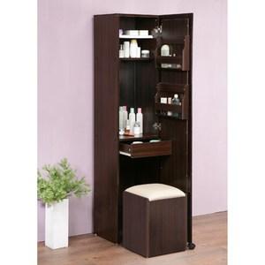 《C&B》四合一收納化妝桌椅穿衣鏡櫃-胡桃木