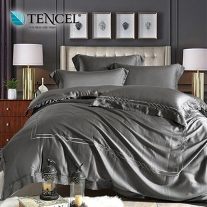 60支刺繡素色萊賽爾天絲兩用被床包組 古典款墨若灰(雙人)
