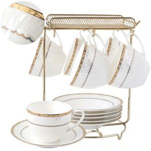 浪漫日記骨瓷六杯盤組附金架