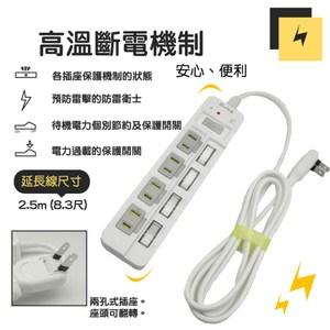 朝日科技 PTP-254-25 2P高溫斷電5開4插延長線 1入