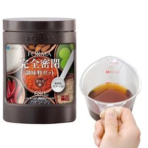 【特惠組】日本ASVEL新色彩680ml玻璃調味罐+300ml耐熱量杯深咖啡色