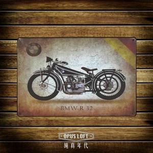 OPUS 20X30仿舊鐵皮畫/復古壁飾/無痕壁貼(Bmw重機)