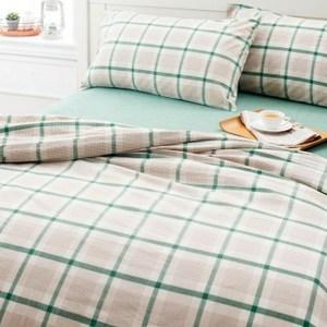 HOLA home 簡單生活水洗棉色織床被組 雙人 綠米格紋