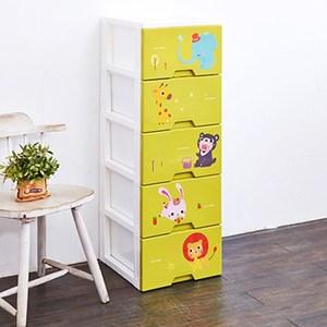 動物園五層收納置物櫃(單層26L)-DIY-粉綠