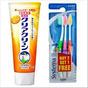 日本Kao花王成人牙膏-柑橘(130g)*6+Systema牙刷*2組