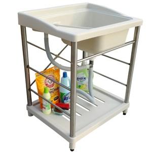 新式大型塑鋼洗衣槽 水槽 洗手台(不鏽鋼腳架)-1入