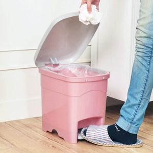 吉利潔腳踏式窄型垃圾桶10L-粉紅
