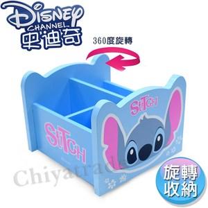 【迪士尼Disney】史迪奇 360旋轉收納盒 筆桶 飾品盒 置物盒(台灣製)