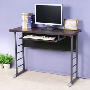 Homelike 查理100x40工作桌-加厚桌面(附鍵盤架)胡桃色桌面/炫灰腳