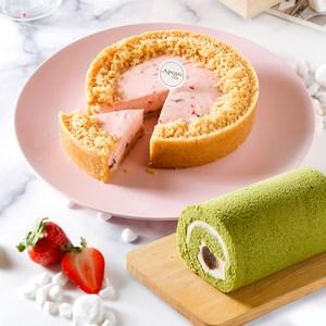 艾波索【無限乳酪系列6吋-1入(原味/草莓)+甜心捲12cm】療癒甜點乳酪(原味)+甜心捲
