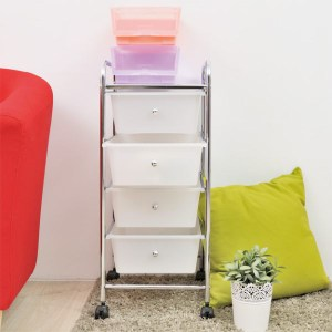 【H&R安室家】可移式四層白色抽屜收納箱/收納盒