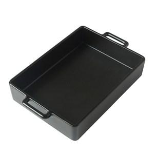 日本Kamoshika道具店 陶質調理盤(大,黑)