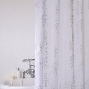 Polyester 特多龍 浴簾 雪花/銀色 180x180cm