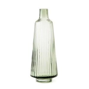 直紋透明花器墨綠31cm