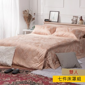 HOLA home 御璽木棉絲緹花七件式床罩組雙人