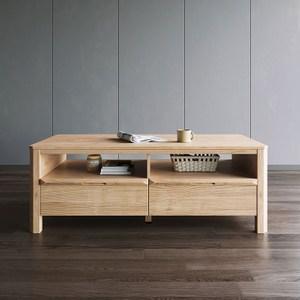 林氏木業北歐簡約1米雙抽茶几HS1L-原木色