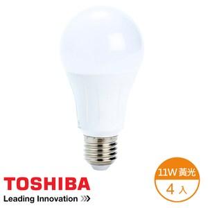 (組)Toshiba 11W 廣角 LED燈泡 燈泡色-4顆